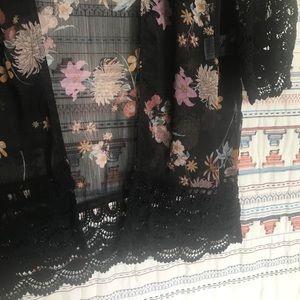 Xhilaration Sweaters - Black floral cardigan kimono XS/ S boho festival